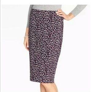 Talbots Purple & Grey Animal Print Pencil Skirt